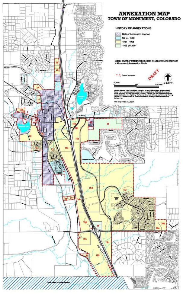 Detailed map of annexation history in Monument